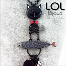 Gato Tom Sardina Negro LOL Bijoux, pez y gato de esmalte lolilota