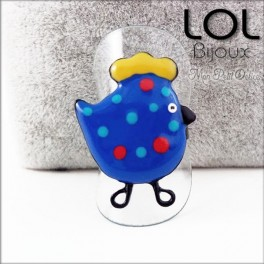 Enamel Chicken Blue LOL Bijoux  Adjustable Ring