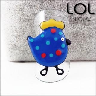 Enamel Chicken Blue LOL Bijoux  Adjustable Ring