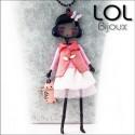 Les Pépettes - Large Doll Enamel Necklace Pink Mireille, lol bijoux lolilota