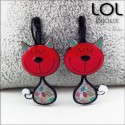 Tom Cat Red LOL Bijoux Earrings , Enamel Lever Back Cat Earrings lolilota