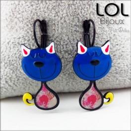 Pendientes  Gato Tom Azul LOL Bijoux, pendientes con cierre catalán de esmalte