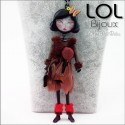 Les Pépettes - Large Doll Enamel Necklace Brown Sara, lol bijoux lolilota