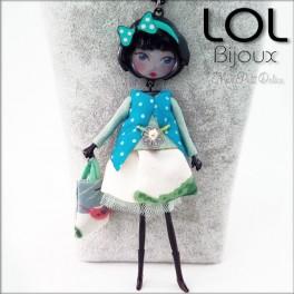 Les Pépettes - Collar largo muñeca de esmalte Azul Lucie , lol bijoux lolilota