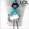 Les Pépettes - Large Doll Enamel Necklace Blue Lucie, lol bijoux lolilota