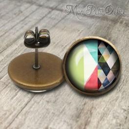 Pendientes Vintage Diseño Geometrico Verde
