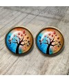 pendientes-vintage-arbol-vida-marron-cabuchon-cristal-12mm-bronce-earrings-brown-stud-tree-life-cabochon-glass-tile