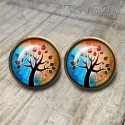 Round Brown Tree Of Life Vintage Earrings