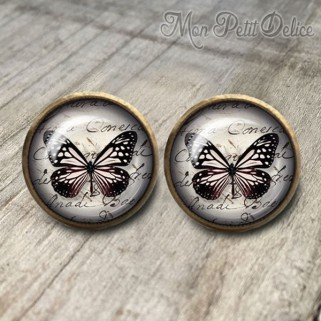 pendientes-vintage-mariposa-negro-cabuchon-cristal-12mm-bronce-earrings-black-stud-butterfly-cabochon-glass-tile