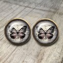 Round Black Butterfly Vintage Earrings