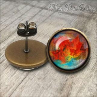 pendientes-vintage-hoja-floral-rojo-cabuchon-cristal-12mm-bronce-earrings-floral-stud-red-leaf-cabochon-glass-tile