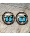 pendientes-vintage-mariposa-azul-cabuchon-cristal-12mm-bronce-earrings-blue-stud-butterfly-cabochon-glass-tile