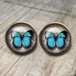 Pendientes Vintage Mariposa Azul