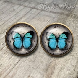 pendientes-vintage-mariposa-azul-cabuchon-cristal-12mm-bronce-earrings-blue-stud-butterfly-cabochon-glass-tile