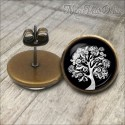 Round Black & White Tree Of Life Vintage Earrings