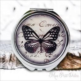 Espejo-doble-mariposa-negro-vintage-compacto-tapa-resina-de-bolsillo-compact-pocket-mirror-black-butterfly-resin-double