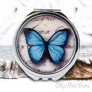 Espejo-doble-mariposa-azul-vintage-compacto-tapa-resina-de-bolsillo-compact-pocket-mirror-blue-butterfly-resin-double