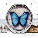 Double Pocket Mirror Vintage Blue Butterfly