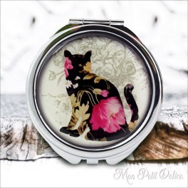 Espejo-doble-gato-floral-vintage-compacto-tapa-resina-de-bolsillo-compact-pocket-mirror-cat-flowers-resin-double