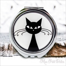 Espejo-doble-gato-negro-vintage-compacto-tapa-resina-de-bolsillo-compact-pocket-mirror-black-cat-resin-double