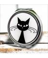 Espejo-doble-gato-negro-vintage-compacto-tapa-resina-de-bolsillo-compact-pocket-mirror-black-cat-resin-double
