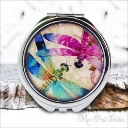 Espejo-doble-libelulas-vintage-compacto-tapa-resina-de-bolsillo-compact-pocket-mirror-dragonflies-resin-double