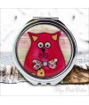 Espejo-doble-gato-rojo-vintage-compacto-tapa-resina-de-bolsillo-compact-pocket-mirror-red-cat-resin-double