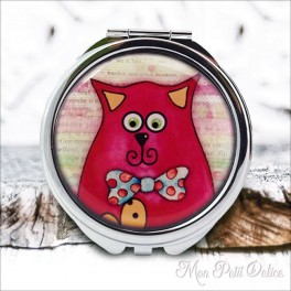 Espejo-doble-gato-rojo-vintage-compacto-tapa-resina-de-bolsillo-compact-pocket-mirror-red-cat-resin-double