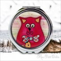 Double Pocket Mirror Funny Red Cat With Cover , epoxy resin mirror