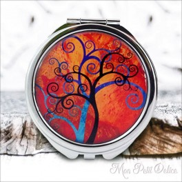 Espejo-doble-arbol-vida-rojo-vintage-compacto-tapa-resina-de-bolsillo-compact-pocket-mirror-red-tree-life-resin-double