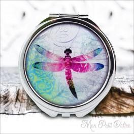 Espejo-doble-libelula-rosa-vintage-compacto-tapa-resina-de-bolsillo-compact-pocket-mirror-dragonfly-pink-resin-double