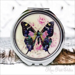 Espejo-doble-mariposa-floral-vintage-compacto-tapa-resina-de-bolsillo-compact-pocket-mirror-flowers-butterfly-resin-double