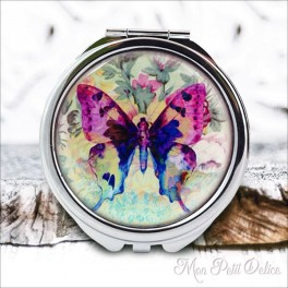 Espejo-doble-mariposa-floral-flores-vintage-compacto-tapa-resina-bolsillo-compact-pocket-mirror-flowers-butterfly-resin-double