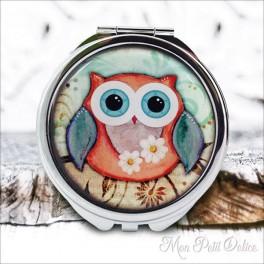 Espejo-doble-buho-buo-vintage-compacto-tapa-resina-de-bolsillo-compact-pocket-mirror-owl-resin-double