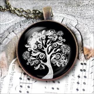 collar-colgante-redondo-arbol-vida-blanco-negro-vintage-cabuchon-cristal-necklace-pendant-tree-life-black-bronze-cabochon-glass