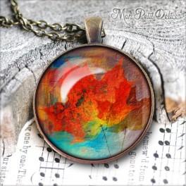 collar-colgante-redondo-hoja-floral-rojo-vintage-cabuchon-cristal-necklace-pendant-leaf-red-bronze-cabochon-glass