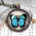 Vintage Round Blue Butterfly Necklace, antique cabochon glass pendant