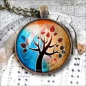 Vintage Round Brown Tree of Life Necklace, antique cabochon glass pendant