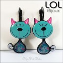 Tom Cat Turquoise LOL Bijoux Earrings , Enamel Lever Back Cat Earrings lolilota