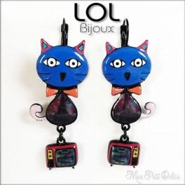 Pendientes Pop Art Gato Tom Azul LOL Bijoux, pendientes con cierre catalán de esmalte