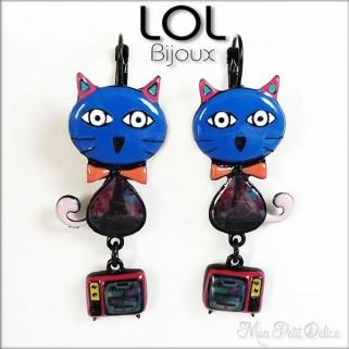 lol-bijoux-pop-art-tom-gato-azul-pendientes-esmalte-enamel-blue-cat-earrings-emaux-boucle-d'oreilles-lolilota