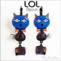 Pop Art Tom Cat Blue LOL Bijoux Earrings , Enamel Lever Back Cat Earrings lolilota