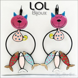 Tom Cat Sardine Pink LOL Bijoux Earrings , Enamel Lever Back Cat Earrings lolilota