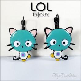 Pendientes  Gato Kitty Turquesa LOL Bijoux, pendientes con cierre catalán de esmalte