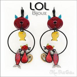 Pendientes Pez Gato Tom Rojo LOL Bijoux, pendientes con cierre catalán de esmalte