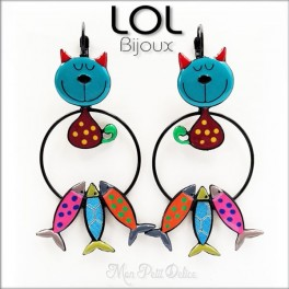 Tom Cat Sardine Turquoise LOL Bijoux Earrings , Enamel Lever Back Cat Earrings lolilota