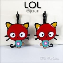 Pendientes  Gato Kitty Rojo LOL Bijoux, pendientes con cierre catalán de esmalte