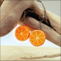 Orange Fruit Dangle Earrings , polymer clay miniature