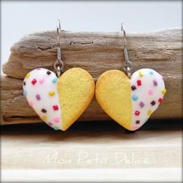Pendientes Largos galletas de te con forma de corazón
