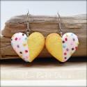 White Tea Heart Cookie Dangle Earrings, polymer clay miniature